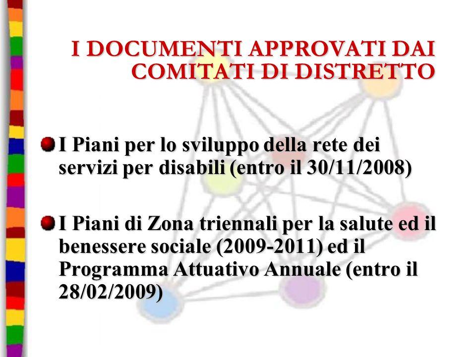 I DOCUMENTI APPROVATI DAI COMITATI DI DISTRETTO I Piani per lo sviluppo della rete dei servizi per disabili (entro il 30/11/2008) I Piani di Zona trie