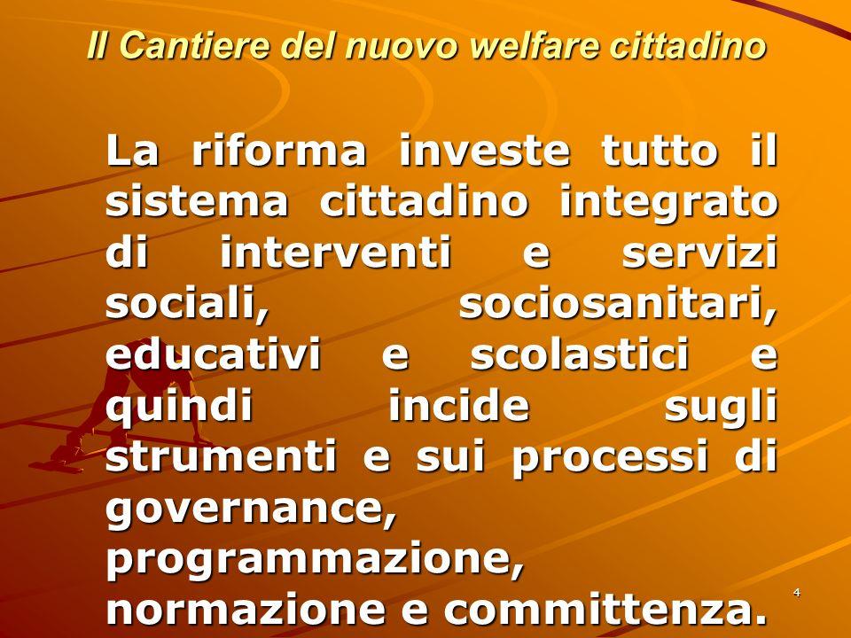 4 Il Cantiere del nuovo welfare cittadino La riforma investe tutto il sistema cittadino integrato di interventi e servizi sociali, sociosanitari, educativi e scolastici e quindi incide sugli strumenti e sui processi di governance, programmazione, normazione e committenza.