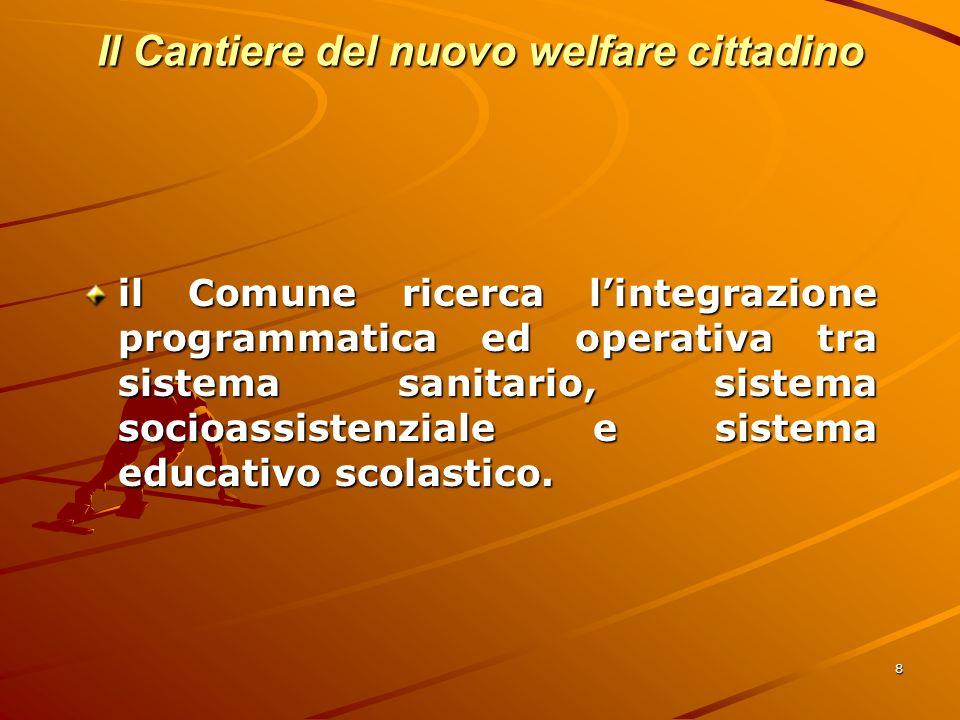 8 Il Cantiere del nuovo welfare cittadino il Comune ricerca lintegrazione programmatica ed operativa tra sistema sanitario, sistema socioassistenziale e sistema educativo scolastico.