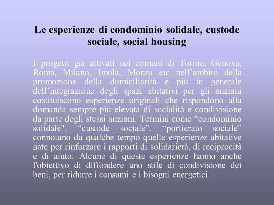 Le esperienze di condominio solidale, custode sociale, social housing I progetti già attivati nei comuni di Torino, Genova, Roma, Milano, Imola, Monza