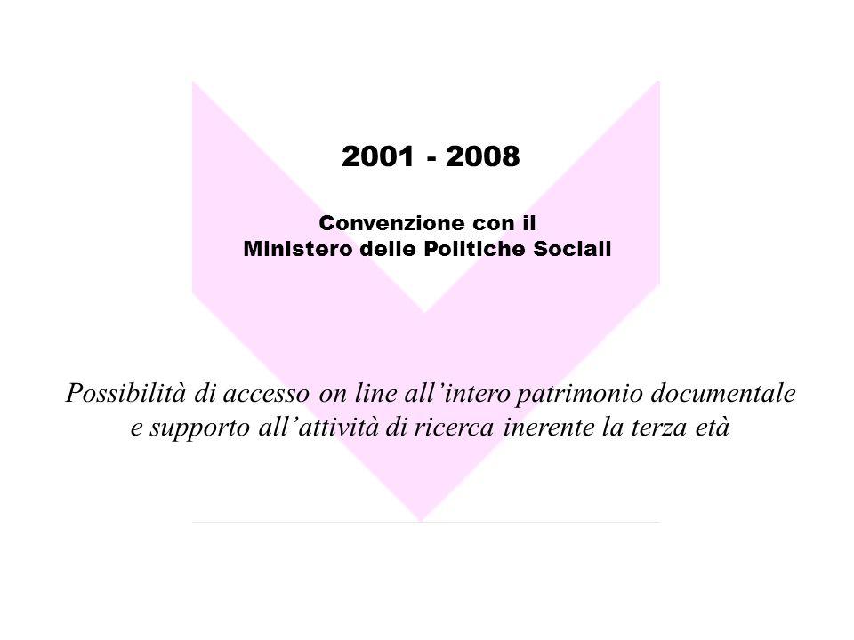 2001 - 2008 Possibilità di accesso on line allintero patrimonio documentale e supporto allattività di ricerca inerente la terza età Convenzione con il