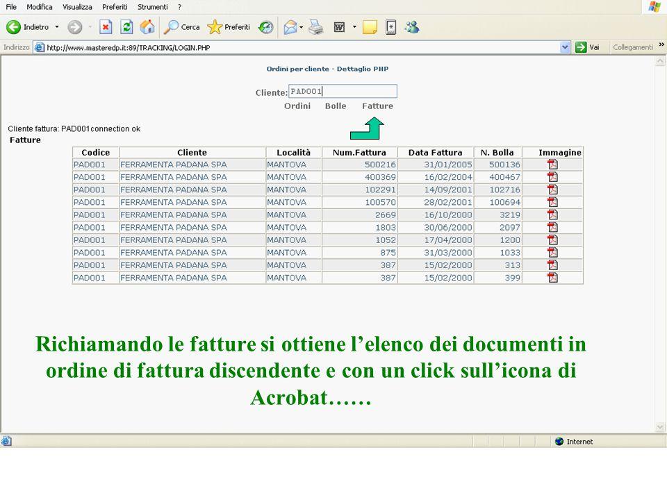 Richiamando le fatture si ottiene lelenco dei documenti in ordine di fattura discendente e con un click sullicona di Acrobat……