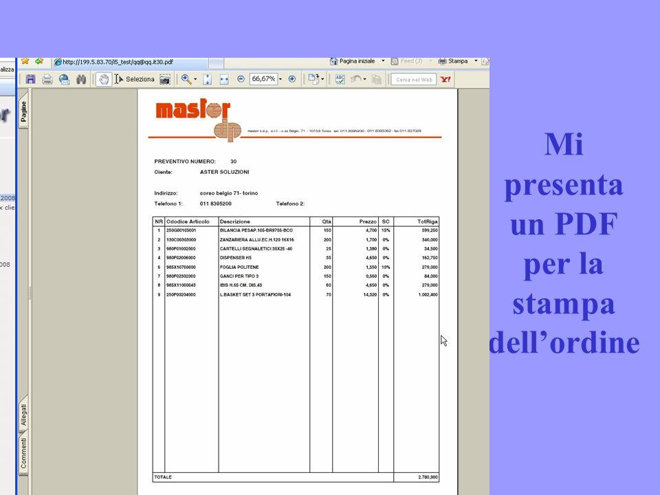 Mi presenta un PDF per la stampa dellordine
