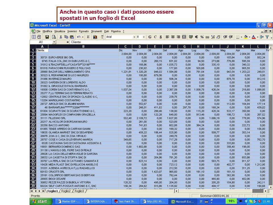 Anche in questo caso i dati possono essere spostati in un foglio di Excel