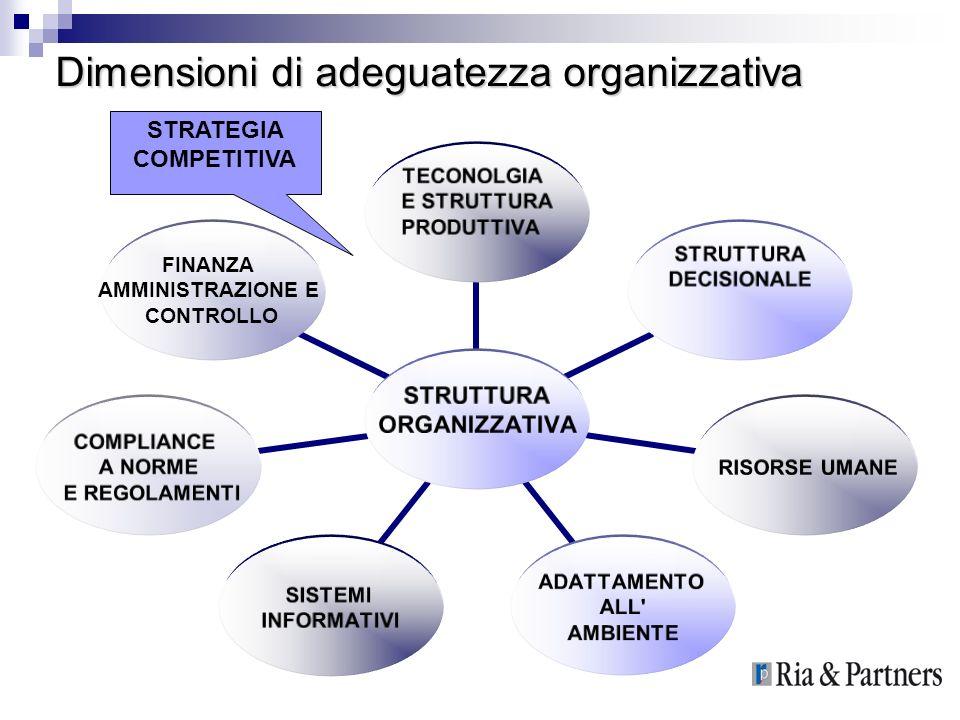 Dimensioni di adeguatezza organizzativa STRUTTURA ORGANIZZATIVA TECONOLGIA E STRUTTURA PRODUTTIVA STRUTTURA DECISIONALE RISORSE UMANE ADATTAMENTO ALL'