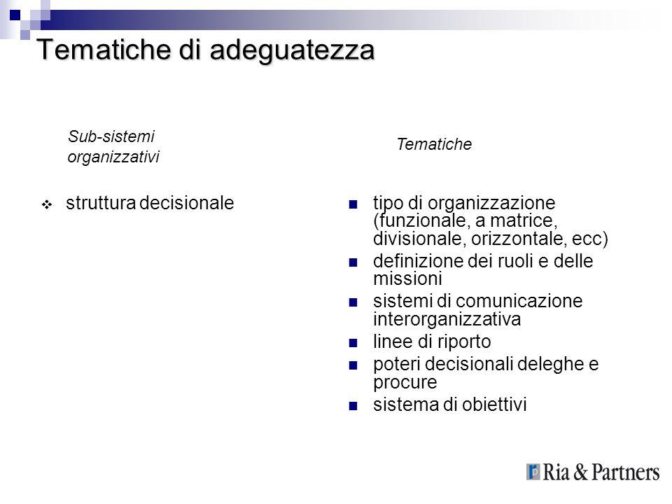 Tematiche di adeguatezza struttura decisionale tipo di organizzazione (funzionale, a matrice, divisionale, orizzontale, ecc) definizione dei ruoli e d