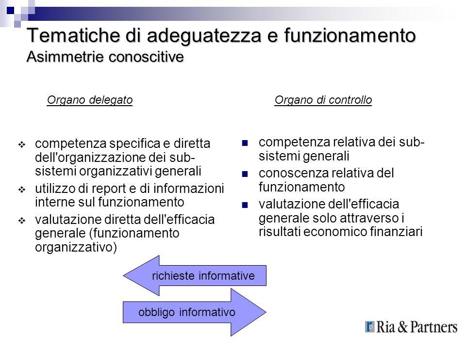 Tematiche di adeguatezza e funzionamento Asimmetrie conoscitive competenza specifica e diretta dell'organizzazione dei sub- sistemi organizzativi gene