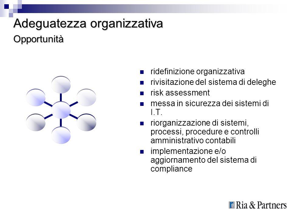 Adeguatezza organizzativa ridefinizione organizzativa rivisitazione del sistema di deleghe risk assessment messa in sicurezza dei sistemi di I.T. rior