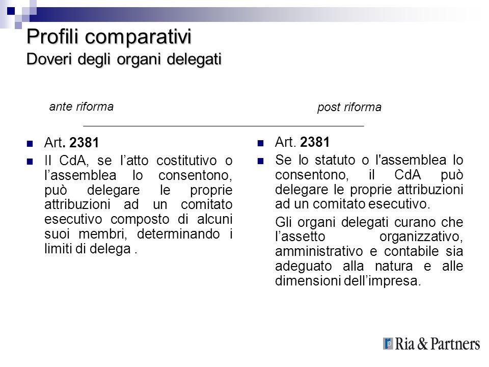 Profili comparativi Doveri degli organi delegati Art. 2381 Il CdA, se latto costitutivo o lassemblea lo consentono, può delegare le proprie attribuzio