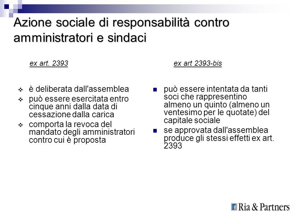 Azione sociale di responsabilità contro amministratori e sindaci è deliberata dall'assemblea può essere esercitata entro cinque anni dalla data di ces