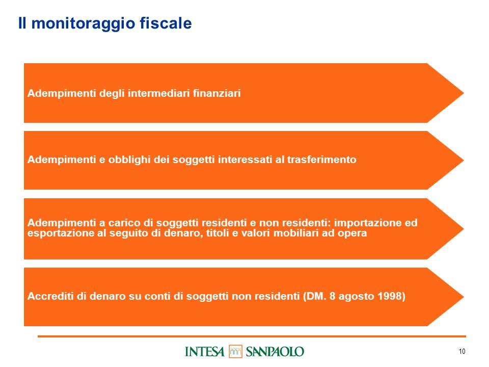 10 Il monitoraggio fiscale Adempimenti degli intermediari finanziari Adempimenti e obblighi dei soggetti interessati al trasferimento Adempimenti a ca