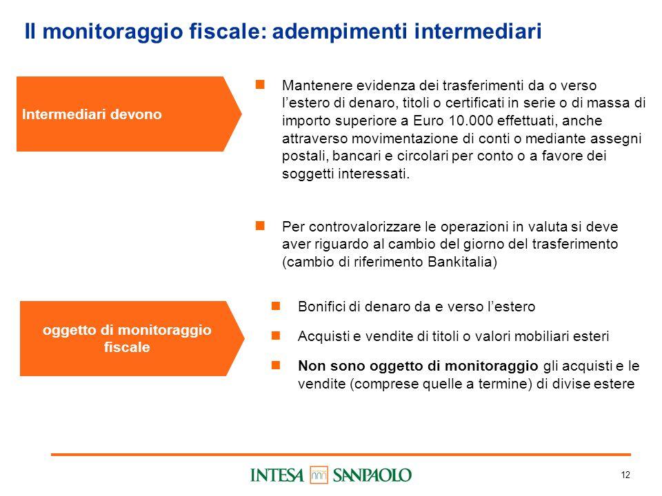 12 Il monitoraggio fiscale: adempimenti intermediari Intermediari devono Mantenere evidenza dei trasferimenti da o verso lestero di denaro, titoli o c