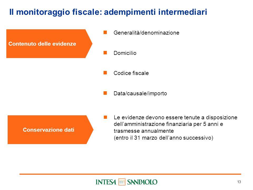 13 Il monitoraggio fiscale: adempimenti intermediari Contenuto delle evidenze Generalità/denominazione Domicilio Codice fiscale Data/causale/importo C