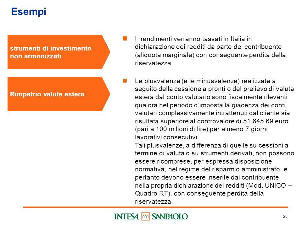 20 Esempi strumenti di investimento non armonizzati I rendimenti verranno tassati in Italia in dichiarazione dei redditi da parte del contribuente (al
