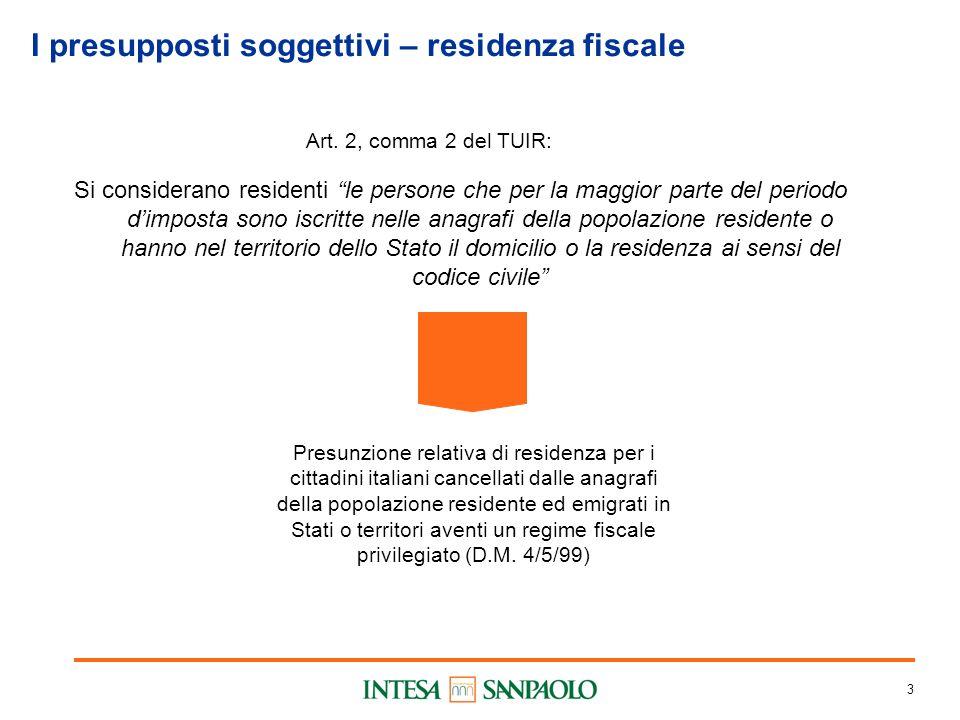3 I presupposti soggettivi – residenza fiscale Art. 2, comma 2 del TUIR: Si considerano residenti le persone che per la maggior parte del periodo dimp