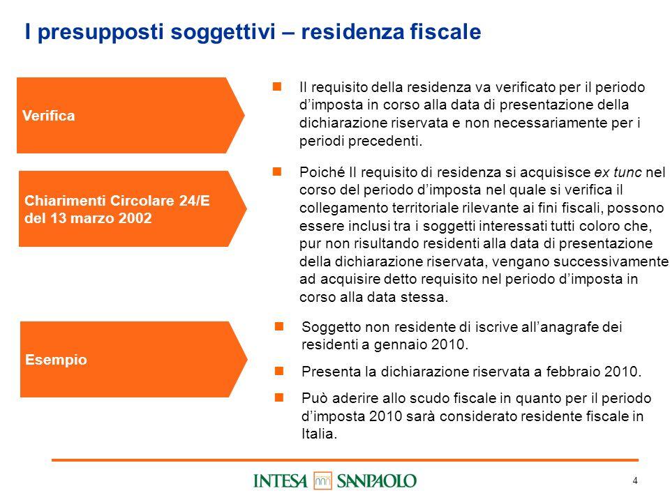 4 I presupposti soggettivi – residenza fiscale Verifica Il requisito della residenza va verificato per il periodo dimposta in corso alla data di prese