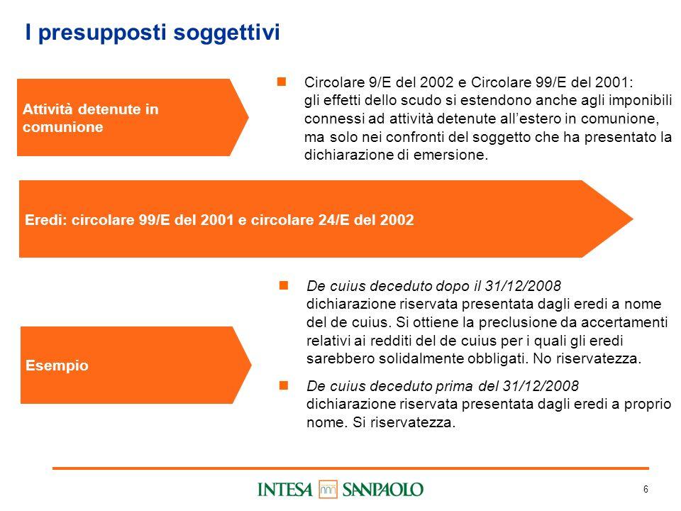 6 I presupposti soggettivi Attività detenute in comunione Circolare 9/E del 2002 e Circolare 99/E del 2001: gli effetti dello scudo si estendono anche