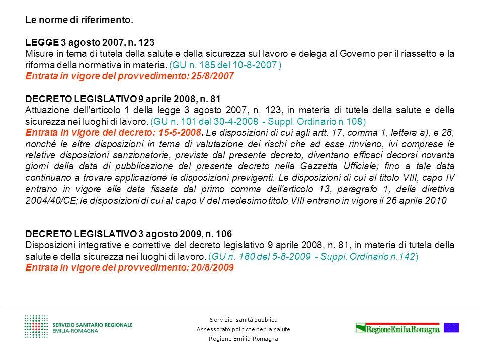Servizio sanità pubblica Assessorato politiche per la salute Regione Emilia-Romagna Le norme di riferimento. LEGGE 3 agosto 2007, n. 123 Misure in tem