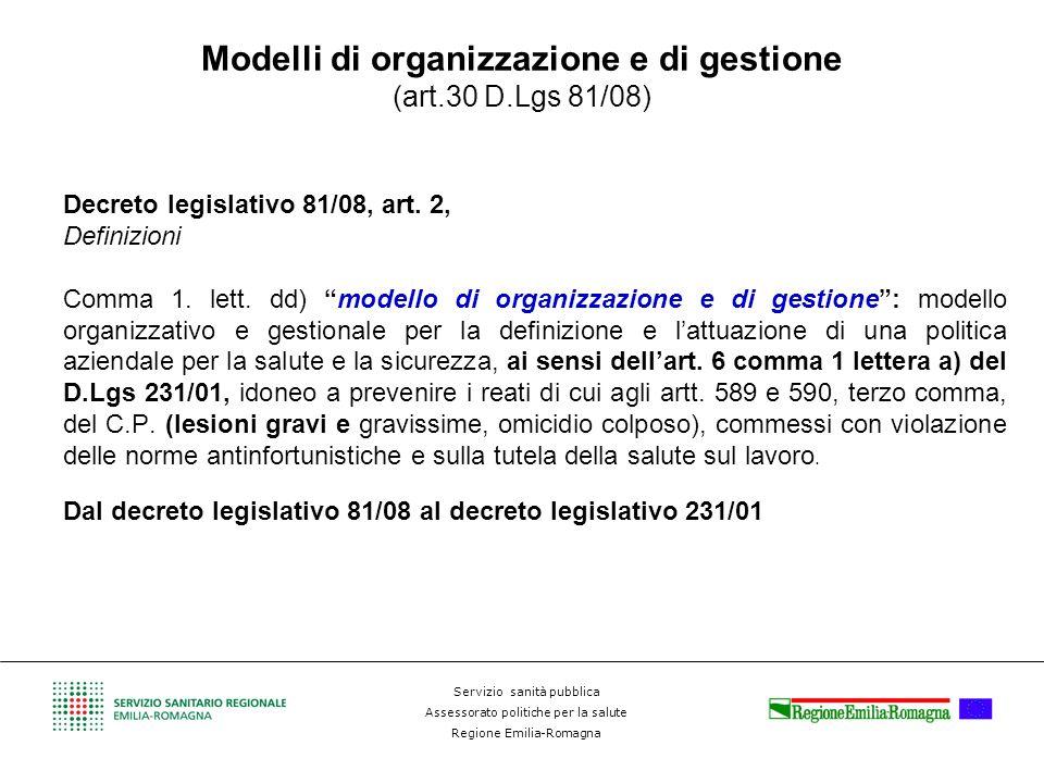 Servizio sanità pubblica Assessorato politiche per la salute Regione Emilia-Romagna Modelli di organizzazione e di gestione (art.30 D.Lgs 81/08) Decre