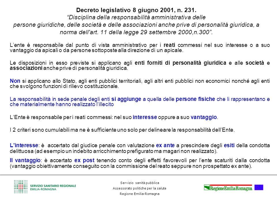 Servizio sanità pubblica Assessorato politiche per la salute Regione Emilia-Romagna Decreto legislativo 8 giugno 2001, n. 231. Disciplina della respon