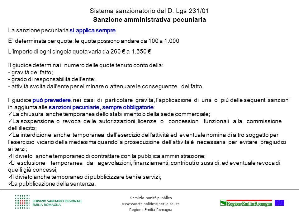 Servizio sanità pubblica Assessorato politiche per la salute Regione Emilia-Romagna Sistema sanzionatorio del D. Lgs 231/01 Sanzione amministrativa pe