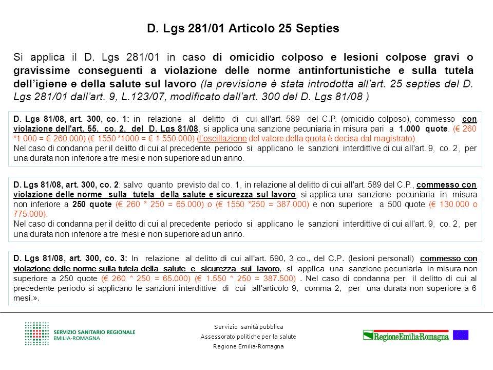 Servizio sanità pubblica Assessorato politiche per la salute Regione Emilia-Romagna D. Lgs 281/01 Articolo 25 Septies Si applica il D. Lgs 281/01 in c
