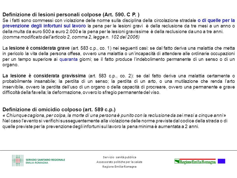 Servizio sanità pubblica Assessorato politiche per la salute Regione Emilia-Romagna Definizione di lesioni personali colpose (Art. 590. C P. ) Se i fa