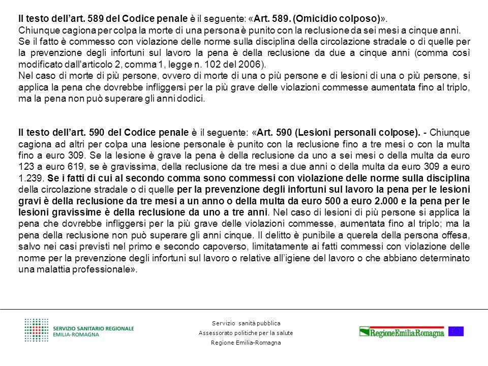 Servizio sanità pubblica Assessorato politiche per la salute Regione Emilia-Romagna Il testo dellart. 589 del Codice penale è il seguente: «Art. 589.