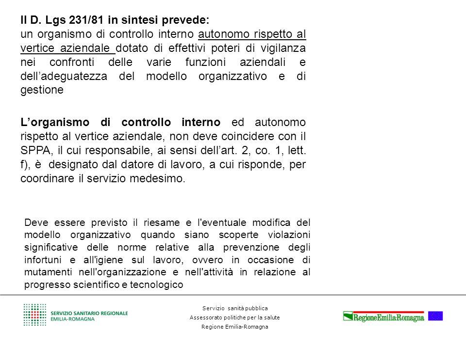 Servizio sanità pubblica Assessorato politiche per la salute Regione Emilia-Romagna Deve essere istituito: Lorganismo di controllo interno ed autonomo