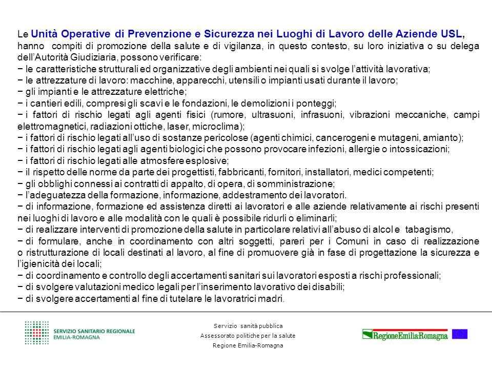 Servizio sanità pubblica Assessorato politiche per la salute Regione Emilia-Romagna Le Unità Operative di Prevenzione e Sicurezza nei Luoghi di Lavoro