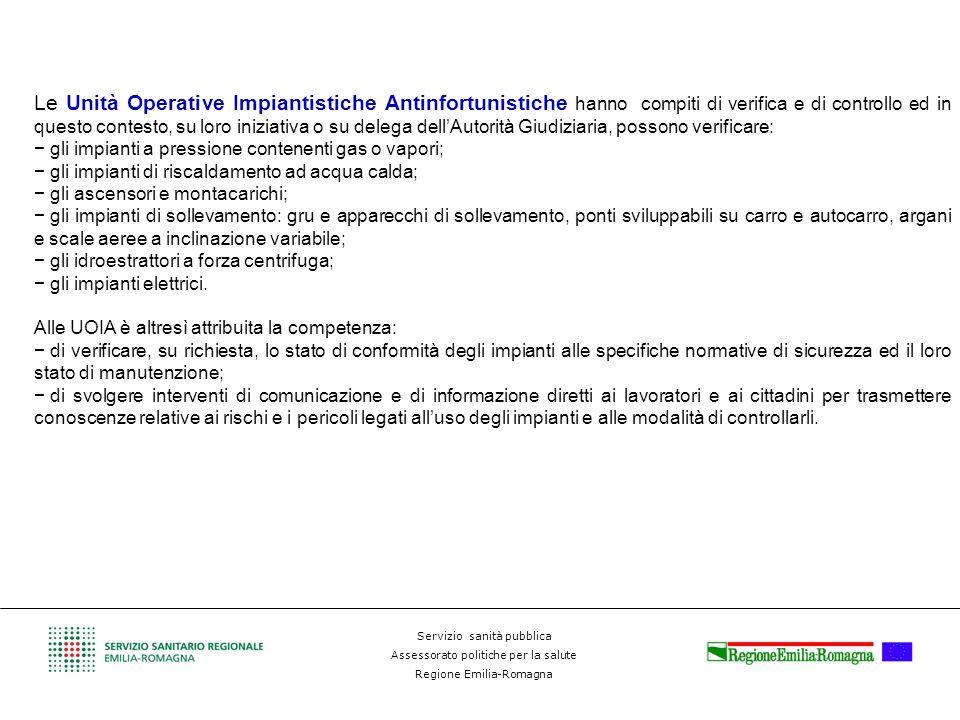 Servizio sanità pubblica Assessorato politiche per la salute Regione Emilia-Romagna Le Unità Operative Impiantistiche Antinfortunistiche hanno compiti