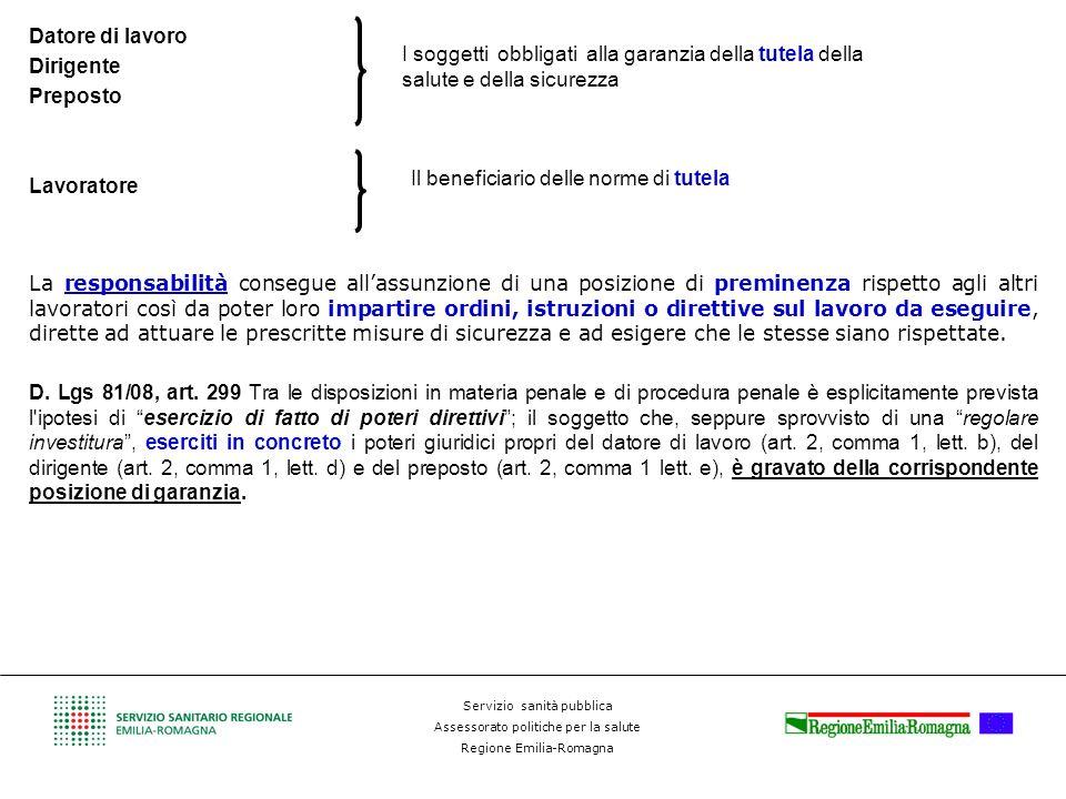 Servizio sanità pubblica Assessorato politiche per la salute Regione Emilia-Romagna Datore di lavoro Dirigente Preposto Lavoratore La responsabilità c