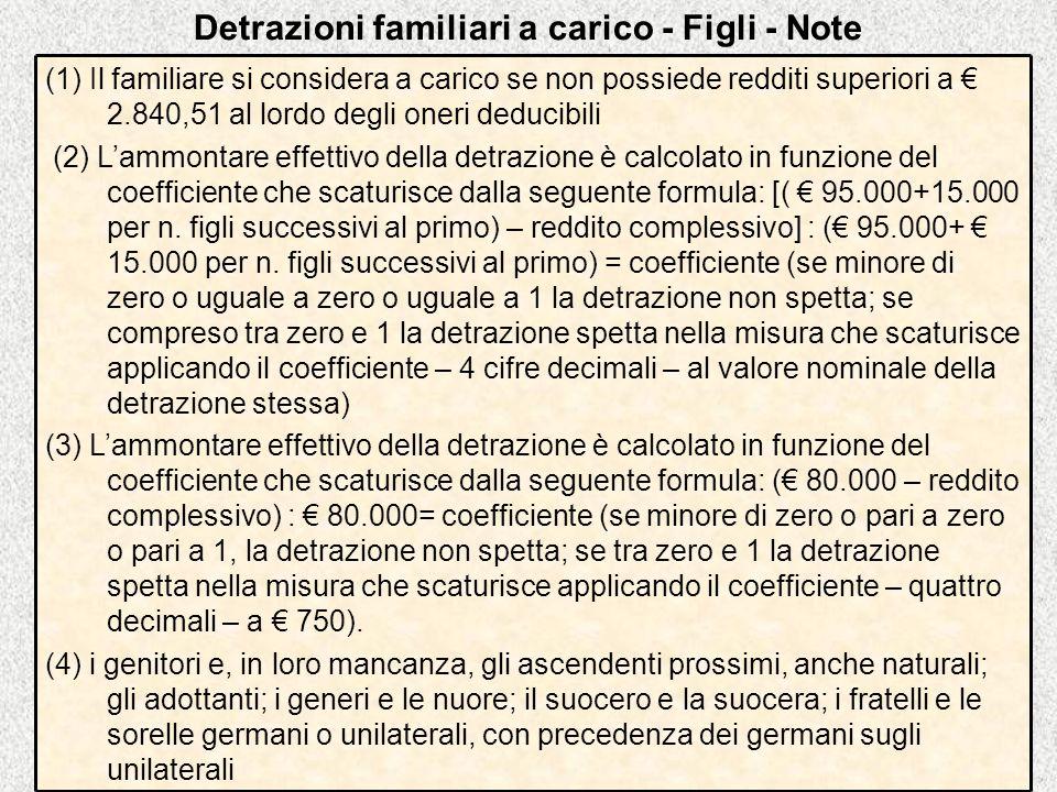 Detrazioni familiari a carico - Figli - Note (1) Il familiare si considera a carico se non possiede redditi superiori a 2.840,51 al lordo degli oneri