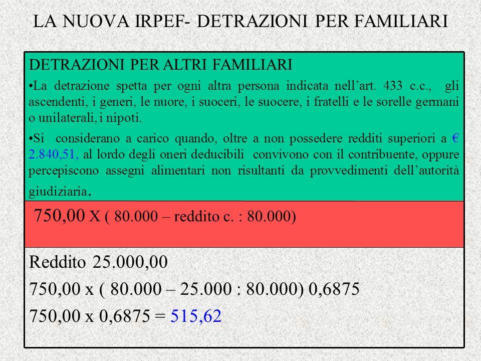 LA NUOVA IRPEF- DETRAZIONI PER FAMILIARI Reddito 25.000,00 750,00 x ( 80.000 – 25.000 : 80.000) 0,6875 750,00 x 0,6875 = 515,62 750,00 X ( 80.000 – re
