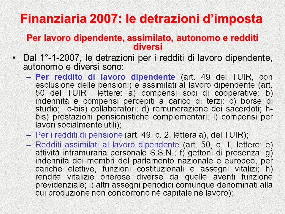 Finanziaria 2007: le detrazioni dimposta Per lavoro dipendente, assimilato, autonomo e redditi diversi Dal 1°-1-2007, le detrazioni per i redditi di l