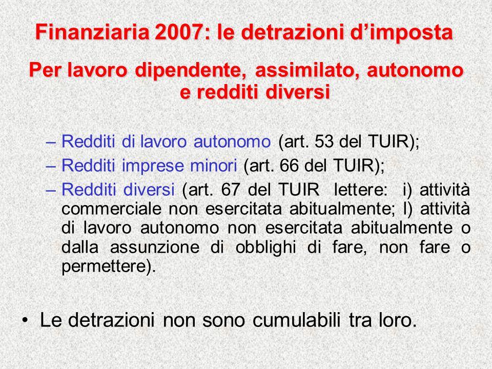 Finanziaria 2007: le detrazioni dimposta Per lavoro dipendente, assimilato, autonomo e redditi diversi –Redditi di lavoro autonomo (art. 53 del TUIR);