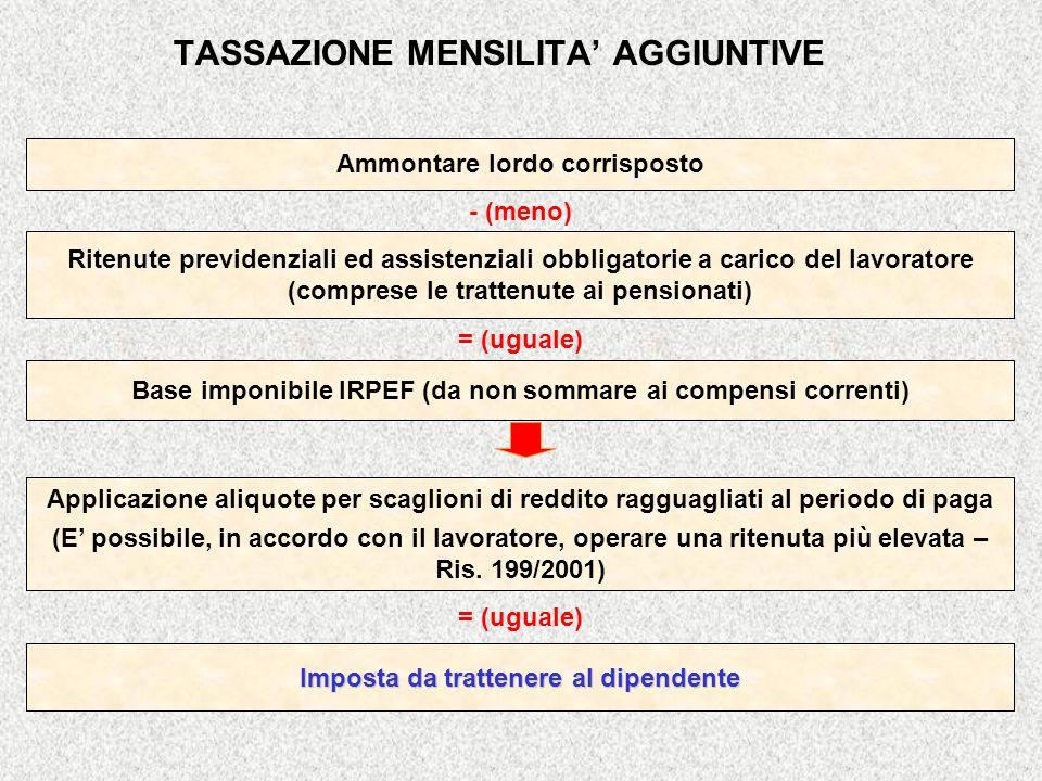 TASSAZIONE MENSILITA AGGIUNTIVE Imposta da trattenere al dipendente = (uguale) Applicazione aliquote per scaglioni di reddito ragguagliati al periodo