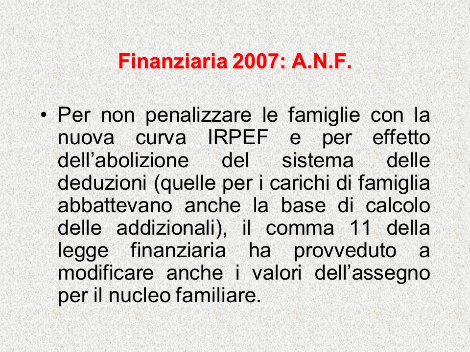Finanziaria 2007: A.N.F. Per non penalizzare le famiglie con la nuova curva IRPEF e per effetto dellabolizione del sistema delle deduzioni (quelle per