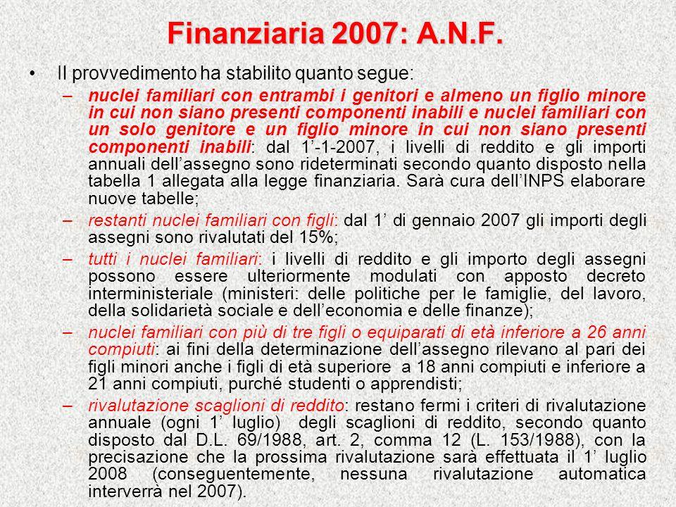 Finanziaria 2007: A.N.F. Il provvedimento ha stabilito quanto segue: –nuclei familiari con entrambi i genitori e almeno un figlio minore in cui non si