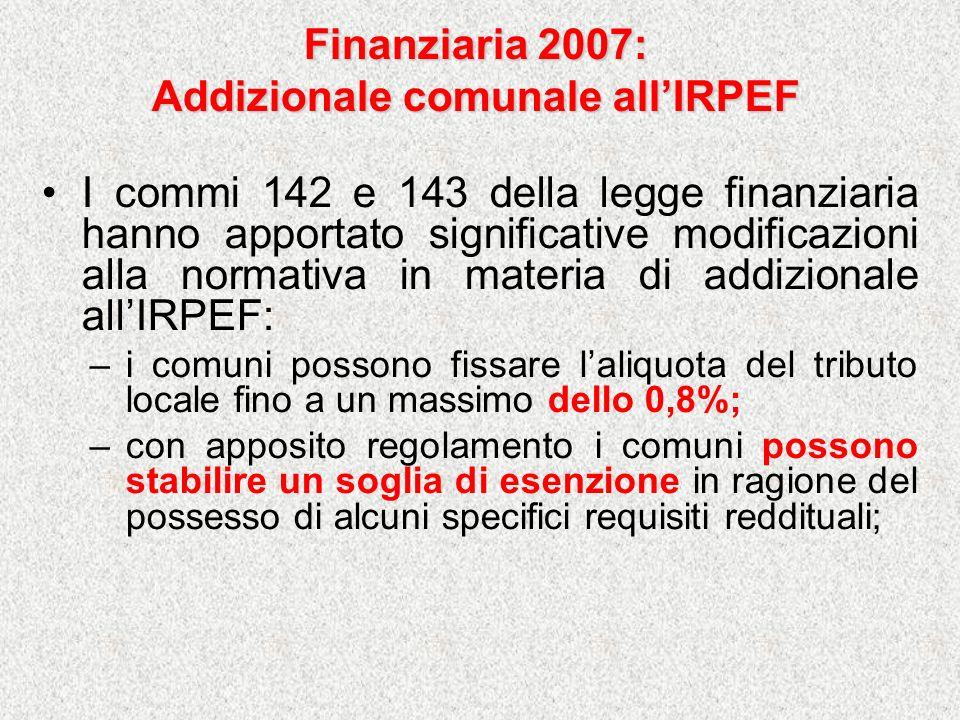 Finanziaria 2007: Addizionale comunale allIRPEF I commi 142 e 143 della legge finanziaria hanno apportato significative modificazioni alla normativa i