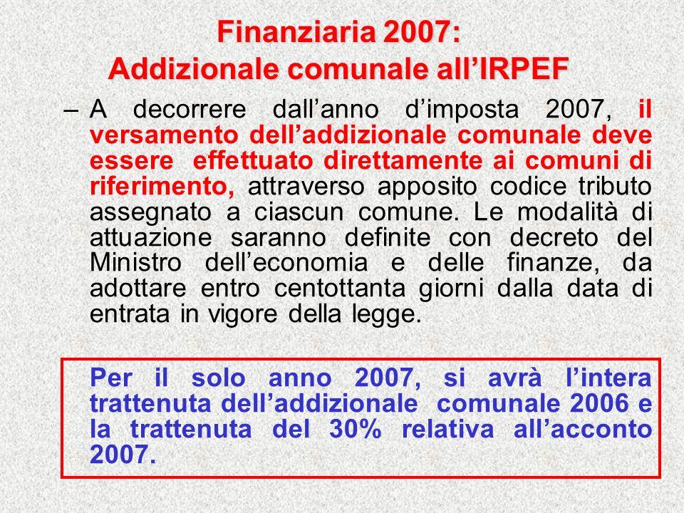 Finanziaria 2007: Addizionale comunale allIRPEF –A decorrere dallanno dimposta 2007, il versamento delladdizionale comunale deve essere effettuato dir