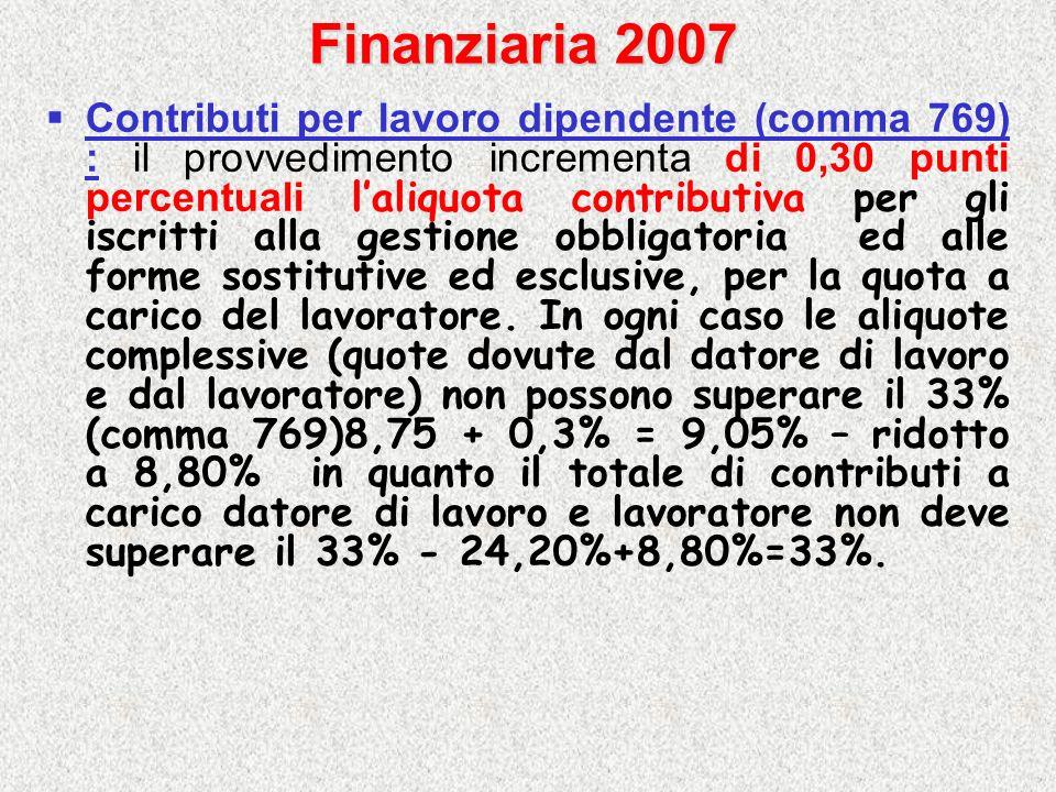 Finanziaria 2007 Contributi per lavoro dipendente (comma 769) : il provvedimento incrementa di 0,30 punti percentuali laliquota contributiva per gli i