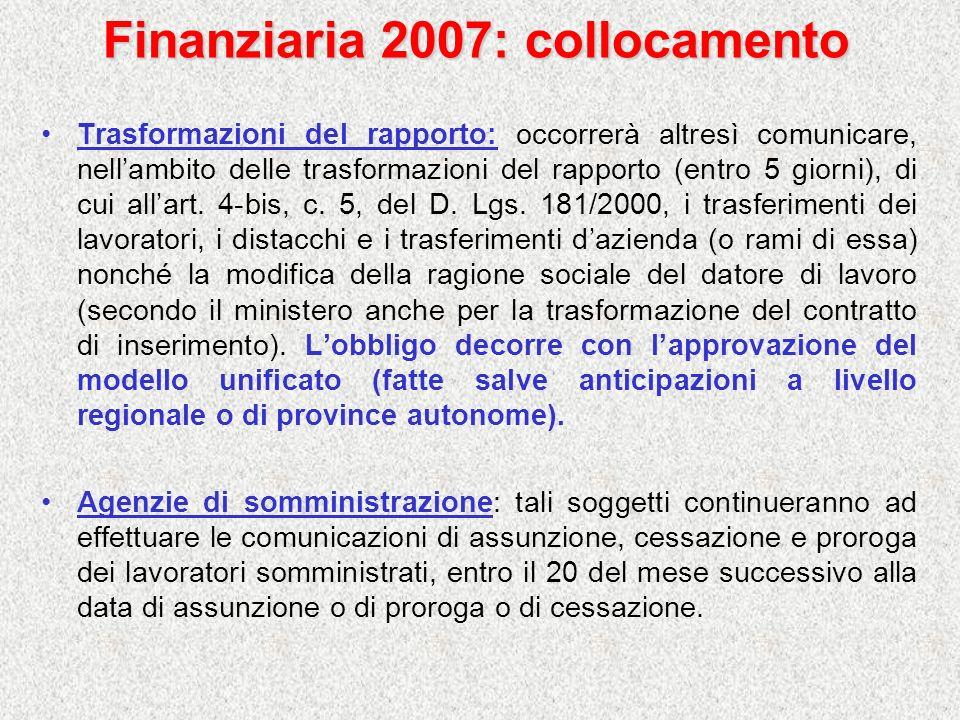 Finanziaria 2007: collocamento Trasformazioni del rapporto: occorrerà altresì comunicare, nellambito delle trasformazioni del rapporto (entro 5 giorni