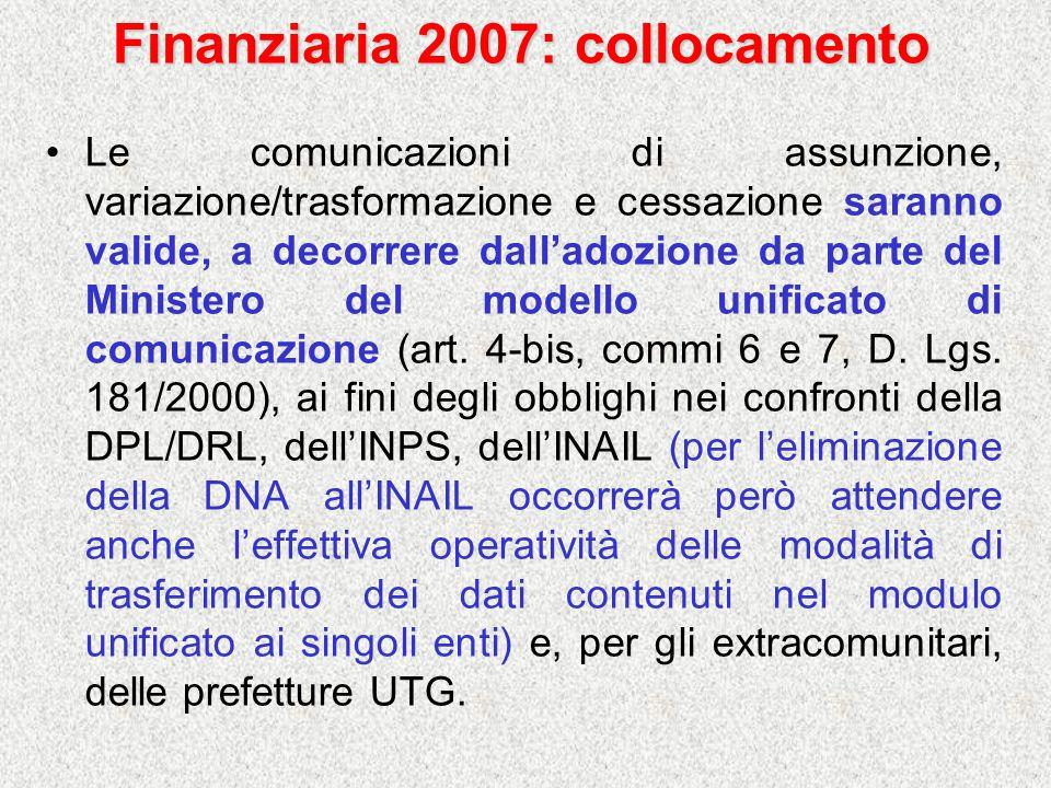 Finanziaria 2007: collocamento Le comunicazioni di assunzione, variazione/trasformazione e cessazione saranno valide, a decorrere dalladozione da part
