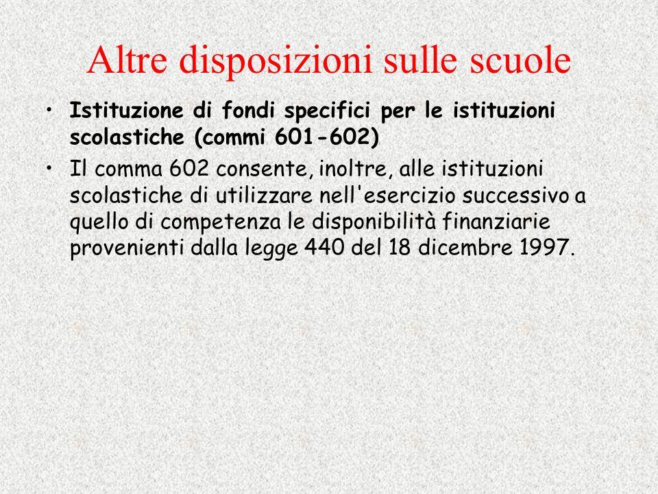 Altre disposizioni sulle scuole Istituzione di fondi specifici per le istituzioni scolastiche (commi 601-602) Il comma 602 consente, inoltre, alle ist