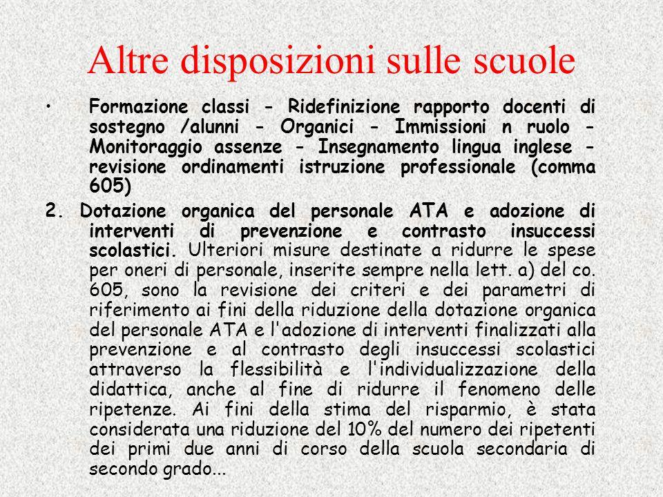 Altre disposizioni sulle scuole Formazione classi - Ridefinizione rapporto docenti di sostegno /alunni - Organici - Immissioni n ruolo - Monitoraggio