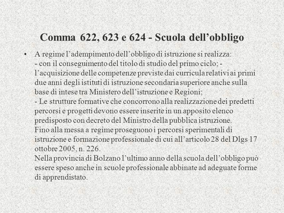 Comma 622, 623 e 624 - Scuola dellobbligo A regime ladempimento dellobbligo di istruzione si realizza: - con il conseguimento del titolo di studio del