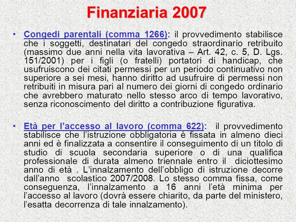 Finanziaria 2007 Congedi parentali (comma 1266): il provvedimento stabilisce che i soggetti, destinatari del congedo straordinario retribuito (massimo