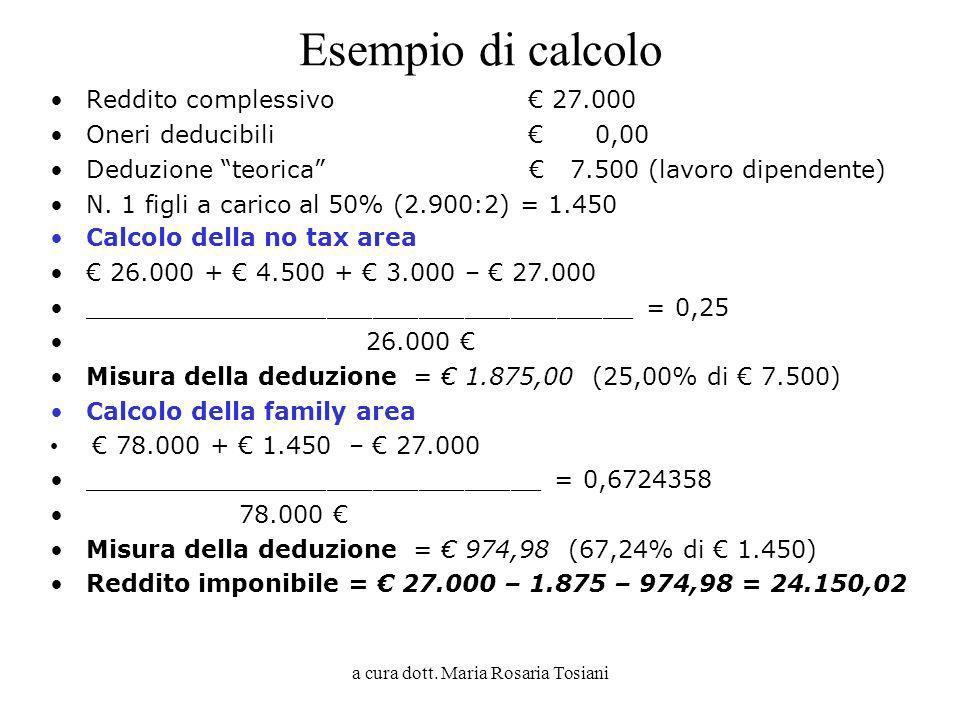a cura dott. Maria Rosaria Tosiani Esempio di calcolo Reddito complessivo 27.000 Oneri deducibili 0,00 Deduzione teorica 7.500 (lavoro dipendente) N.