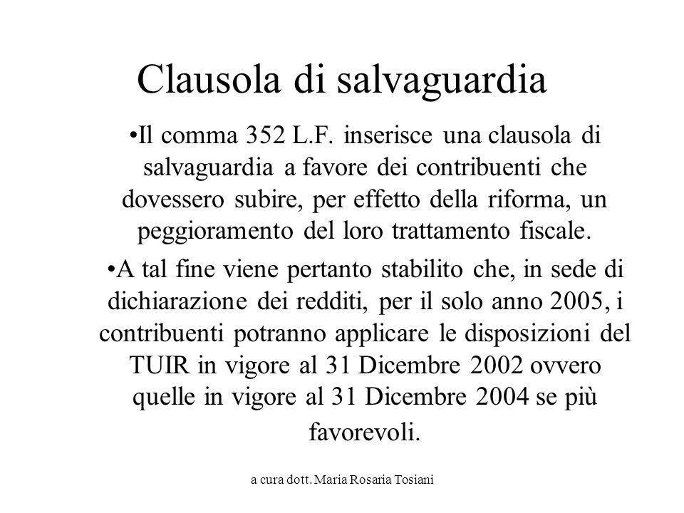 a cura dott. Maria Rosaria Tosiani Clausola di salvaguardia Il comma 352 L.F. inserisce una clausola di salvaguardia a favore dei contribuenti che dov